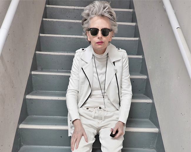 Melanie Kobayashi, Bag and a Beret, stairwell, white moto jacket, Nov 2018
