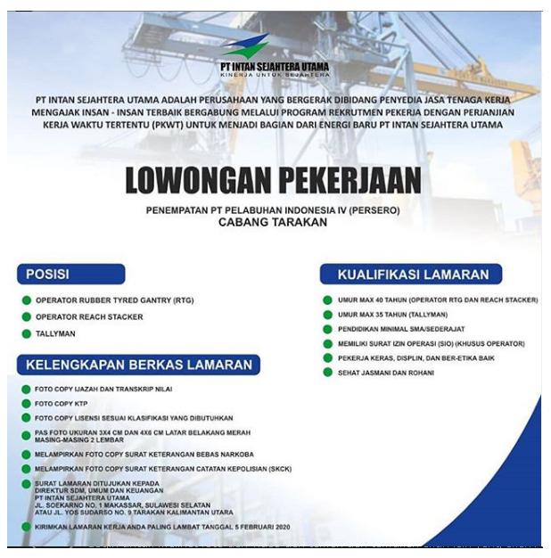 Rekrutmen Tenaga Pt Pelindo Iv Persero Group Tingkat Sma Bulan
