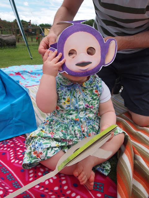 Connie in Teletubbies mask