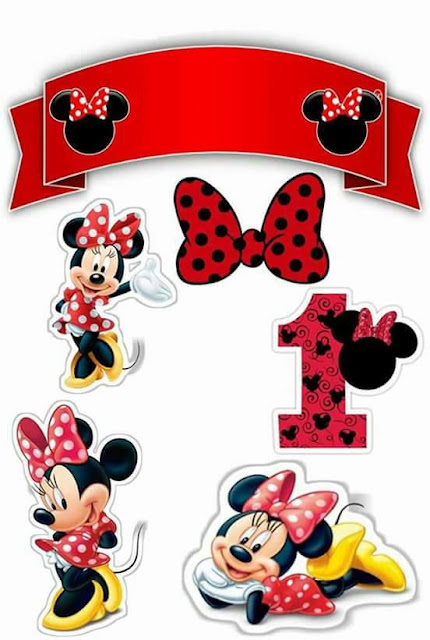 Minnie in Red, First Year: Free Printable Cake Toppers
