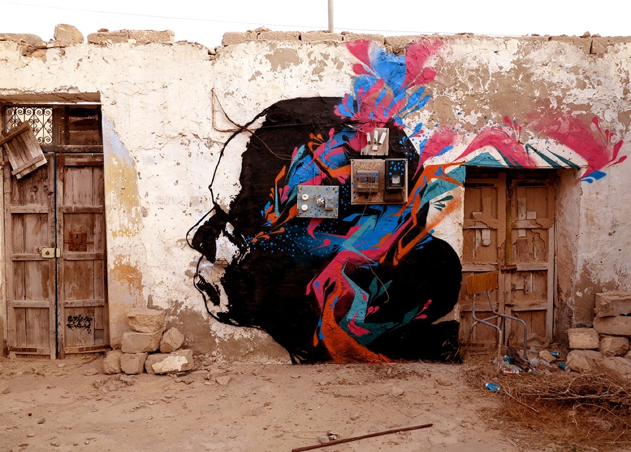 Stinkfish was also invited in North Africa to paint for the Djerbahood project on the island of Djerba in Tunisia.