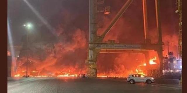 Kontainer Meledak, Pelabuhan Jebel Ali Dubai Kebakaran