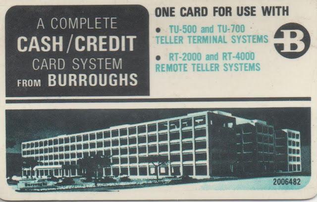 Targeta d'accés als caixers de Burroughs per desenvolupadors, revers.
