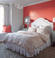 Pink wallpaper for bright bedroom backsplash ideas and beige duvet rug also pink cushions