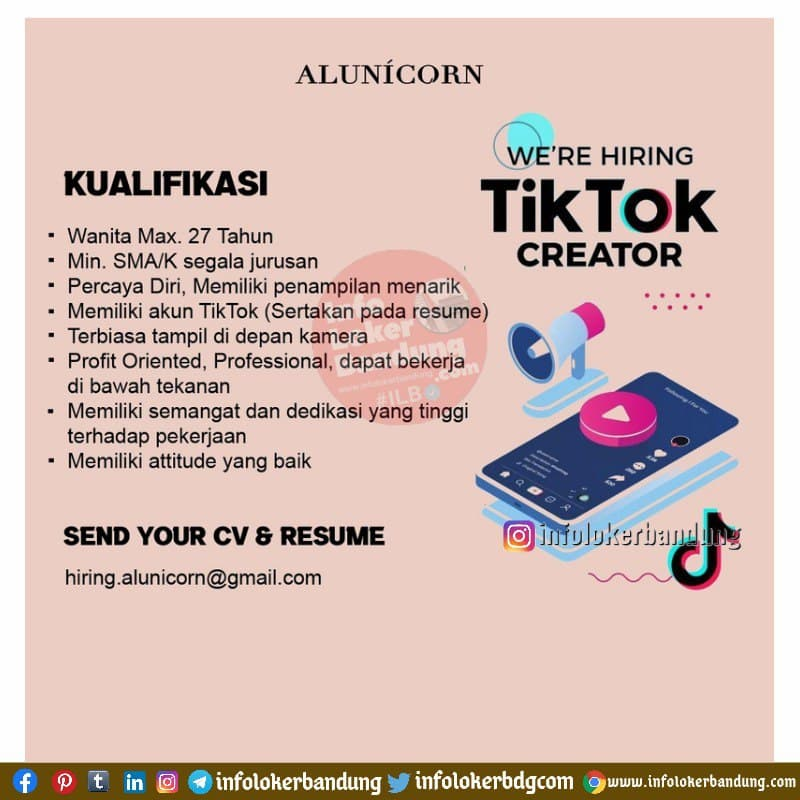 Lowongan Kerja Tiktok Creator & Manager Sales Marketing Alunicorn Bandung April 2021