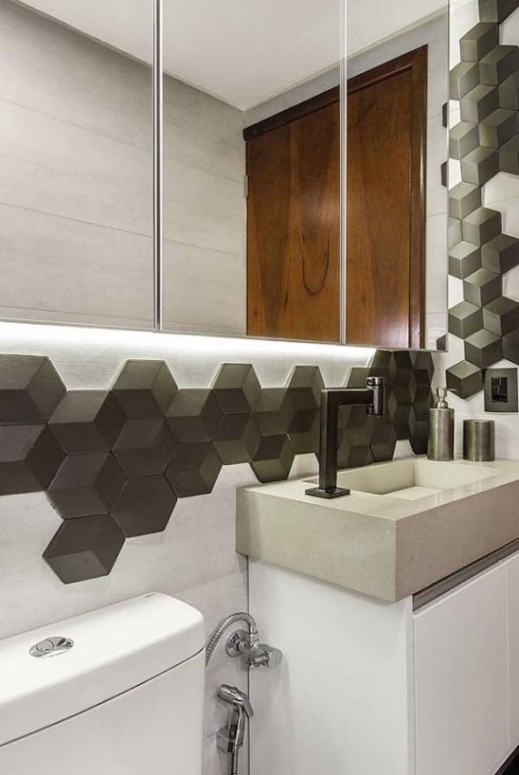 3D bathroom tile forms a beautiful design on the wall