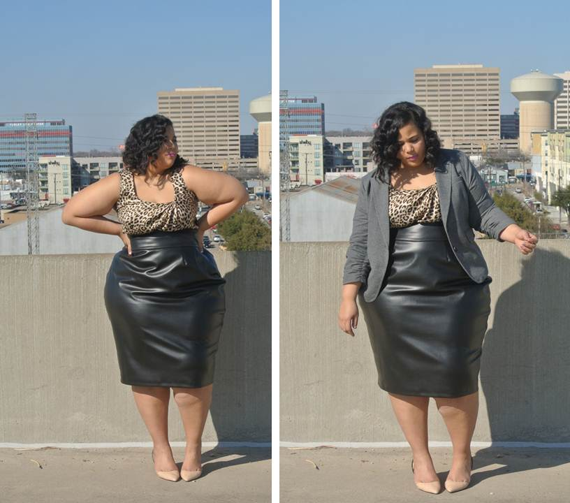 Plus Size High Waist Leather Skirt, JIBRI Plus Sizes