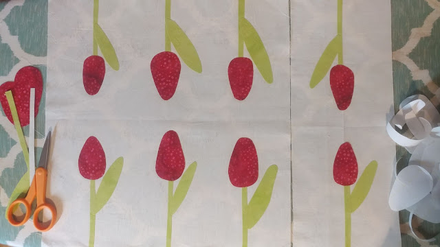 Fusing tulips for raw edge applique
