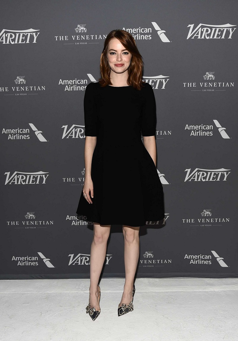 Emma Stone is chic in velvet LBD at the Variety's Actors on Actors Taping