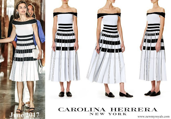 Queen Letizia wore Carolina Herrera Striped Off The Shoulder Knit Dress