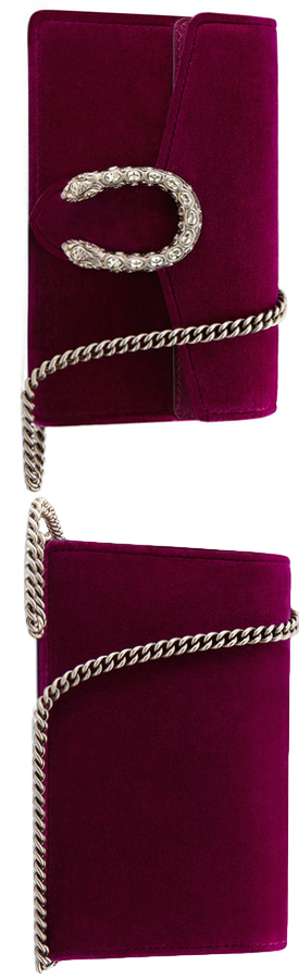 Gucci Dionysus Velvet Super Mini Bag Fuchsia.