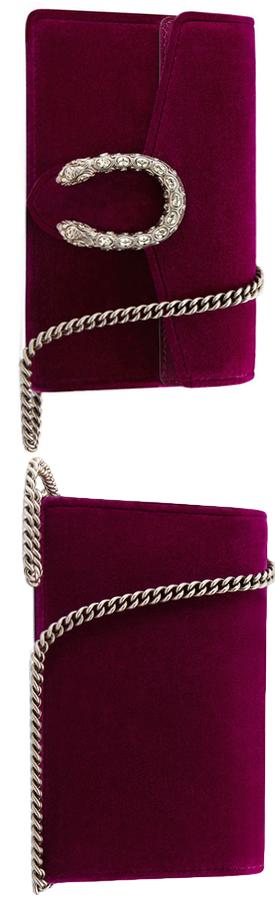 Gucci Dionysus Velvet Super Mini Bag Fuchsia.