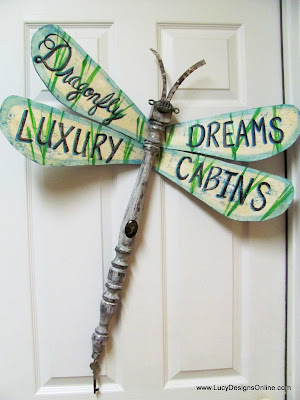 custom signage on table leg dragonfly wings
