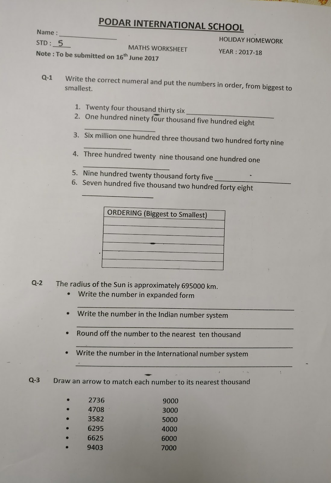 podar international school holiday homework