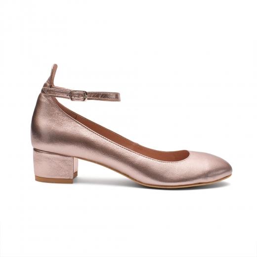 balerinas de piel metalizada en color oro rosa, Paso a Paso, marca polaca, zapatos de piel, colección verano 2017