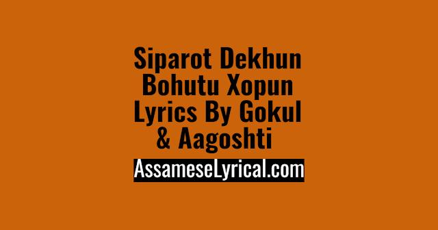 Siparot Dekhun Bohutu Xopun Lyrics