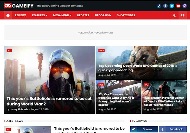 Gameify - Adsense Approval Blog & Magazine Gaming SEO Blogger Template