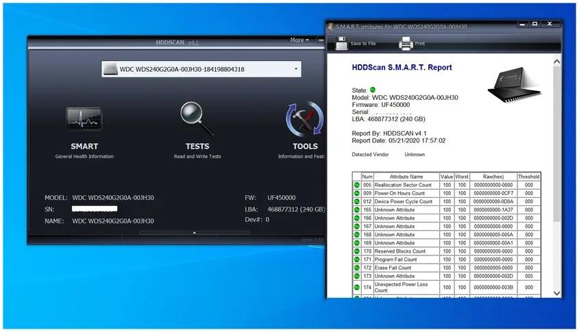HDDScan : Διαγνωστικό λογισμικό  για σκληρούς δίσκους και SSDs