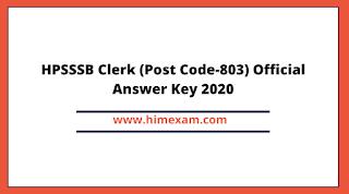 HPSSSB Clerk (Post Code-803) Official Answer Key 2020