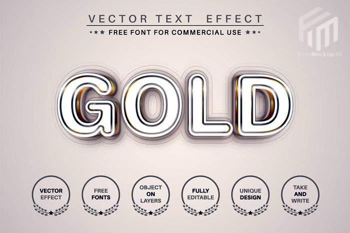 Gold Line Editable Text Effect Font Style
