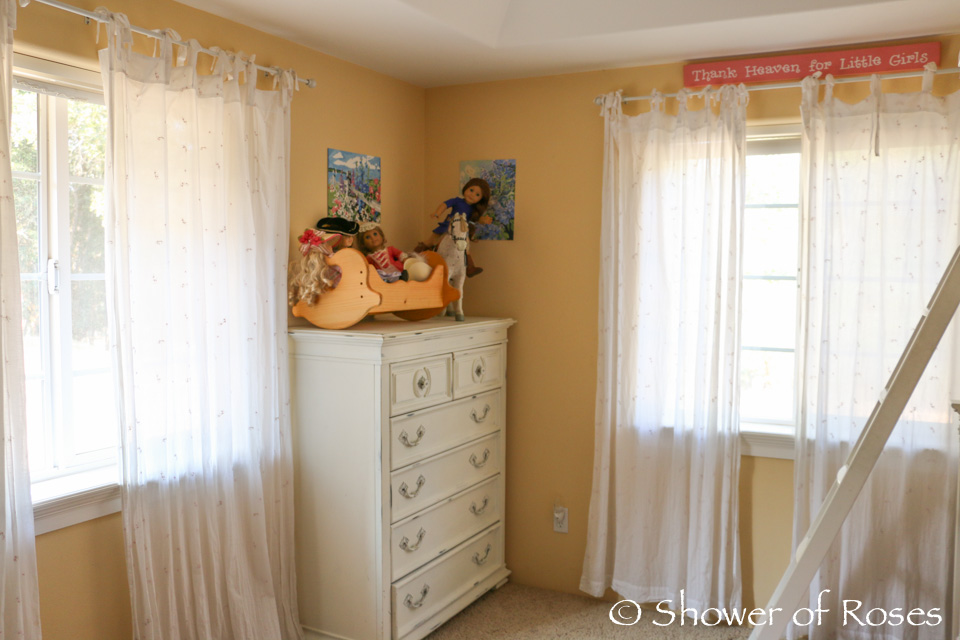 shower of roses: the big girls' bedroom {and how we organize their