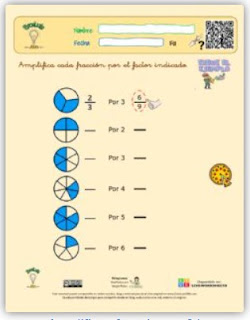 Amplificar y simplificar una fracción.