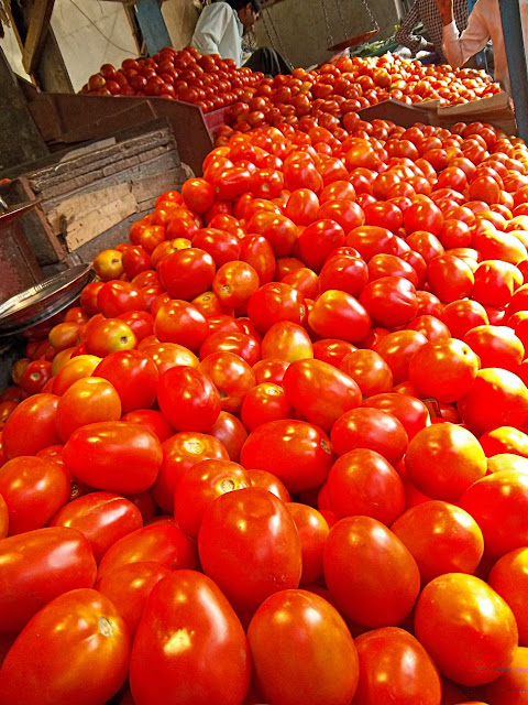 ripe tomatoes on sale in the market