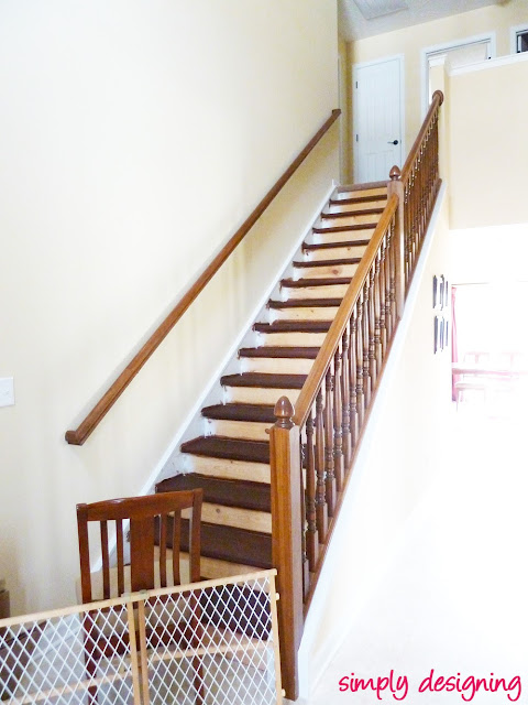 Stair Make-Over - we ripped up our carpet and refinished our stairs to create an upscale hardwood stair case!  Come learn what we did RIGHT and what we did WRONG!  #stairs #home #remodel #renovation #paint #stain
