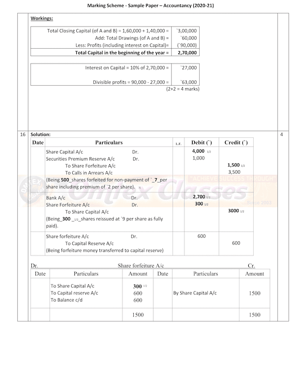 Accountancy MS Class XII Sample Question Paper & Marking Scheme for Exam 2020-21