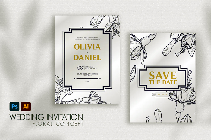Floral Line Elegant Wedding Invitation