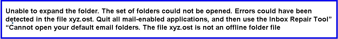 """How to resolve Outlook error: """"Unable to expand the folder"""