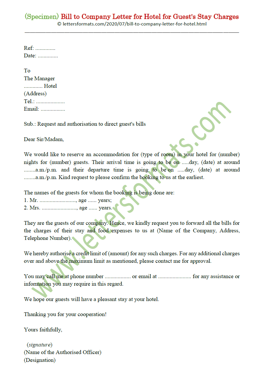 Bill to Company Letter Format for Hotel for Guest Stay Charges