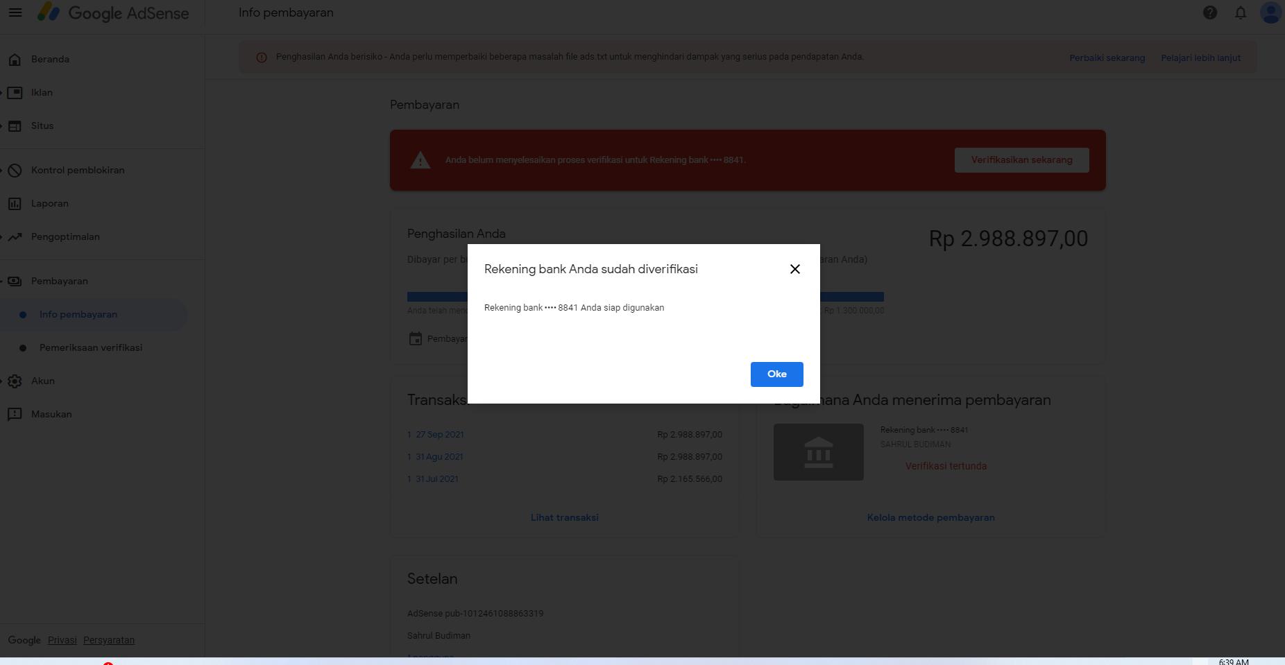 Cara Verifikasi Rekening Bank Mandiri Pembayaran AdSense