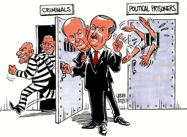كاريكاتير وتعليق ( مجلة الفكر الحر) العدد الأول نيسان 2020