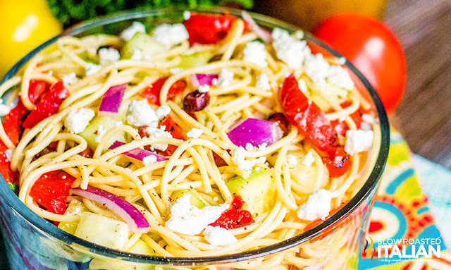 Greek Spaghetti Salad in a serving bowl