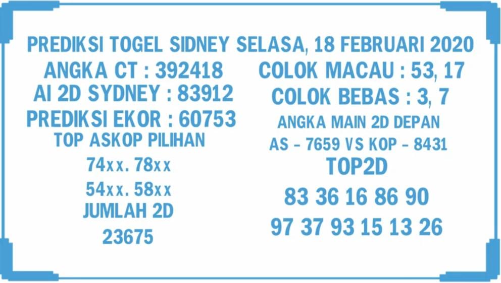 Prediksi Togel Sidney JP 18 februari 2020 - Prediksi Togel JP