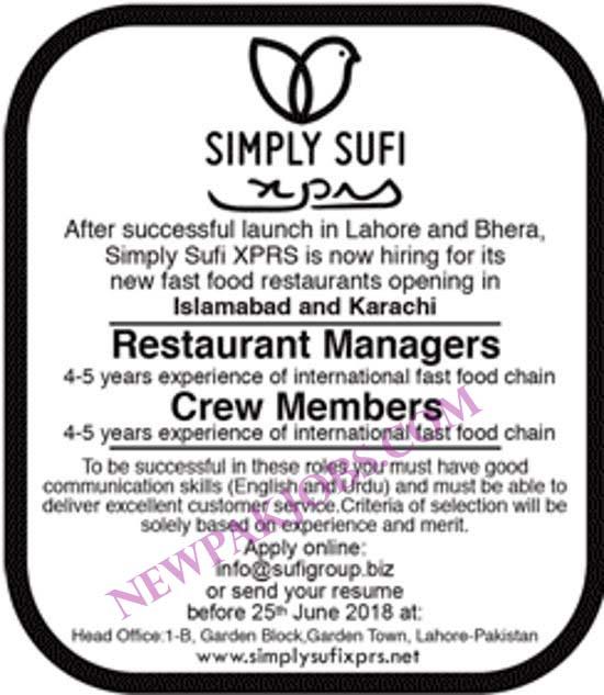 Restaurant for manager and Crew Memeber