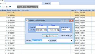 Impresión del listado de Amortizaciones en el programa de taller