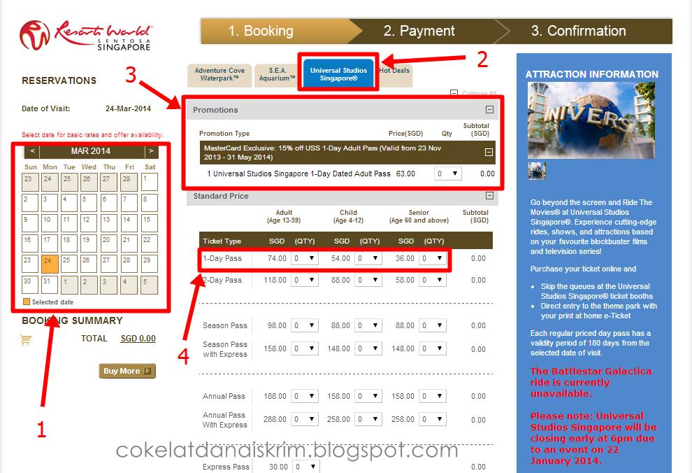 Cikelyana Cara Membeli Tiket Online Ke Uss Singapore Yang Murah