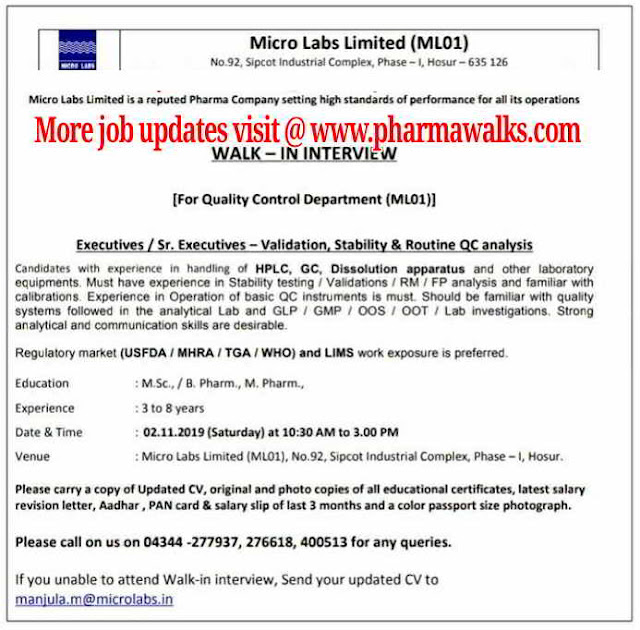Micro Labs - nalk-in interview for Quality Control on 2nd November, 2019