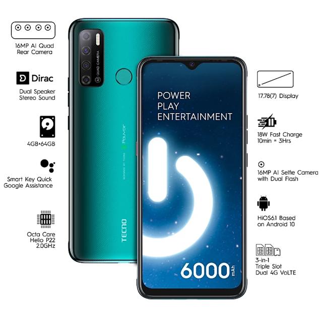 Smartphone - Tecno Spark Power 2 6000 एमएएच की बैटरी 4GB रैम के साथ ऑनलाइन बिक्री शुरू हो चुकी है।