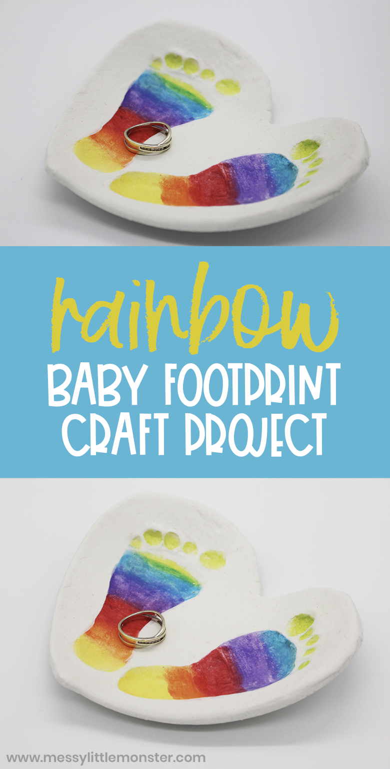 Clay baby footprint art. Clay bowl craft with rainbow footprints.