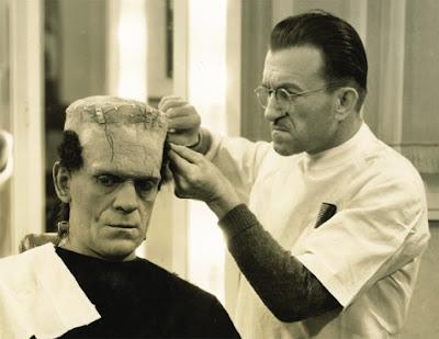 Jack Pierce y Boris Karloff. dando vida al monstruo de Frankenstein