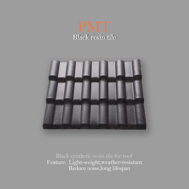resin tile machine 2:  Black three layers synthetic resin tile machine final products show.