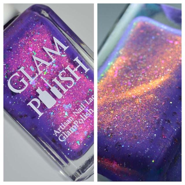 purple shimmer nail polish bottle