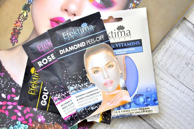 maseczki do twarzy efektima gold peel-off, rose peel-off, diamond peel-off i hydrożelowe płatki pod oczy efektima retinol&vitamins