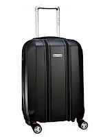 Valiz, siyah deri döner tekerlekli sert valiz