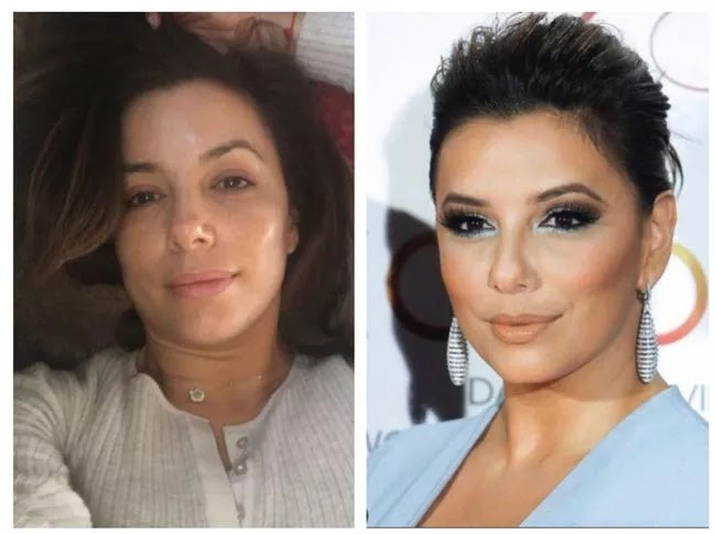 24 Pictures Of Famous Women With And Without Makeup - Eva Longoria