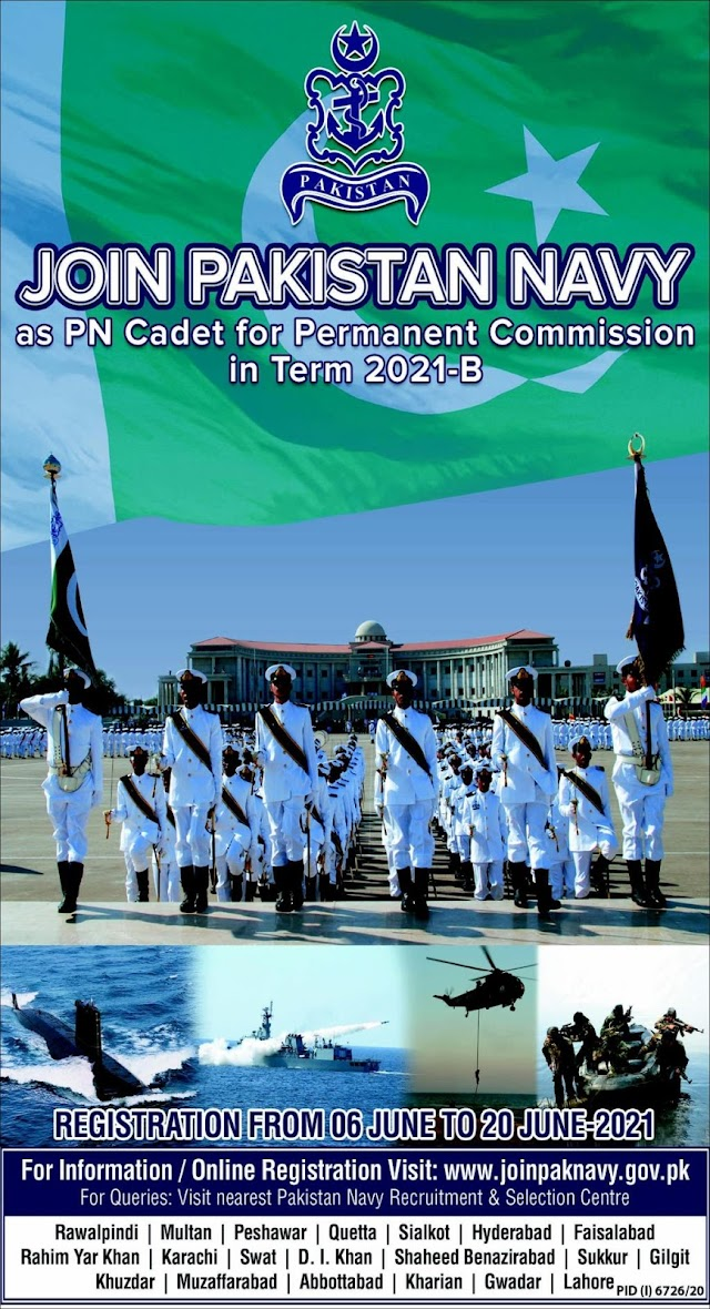 Latest Join Pakistan Navy as PN Cadet For Permanent Commission in Term 2021--B Jobs 2021
