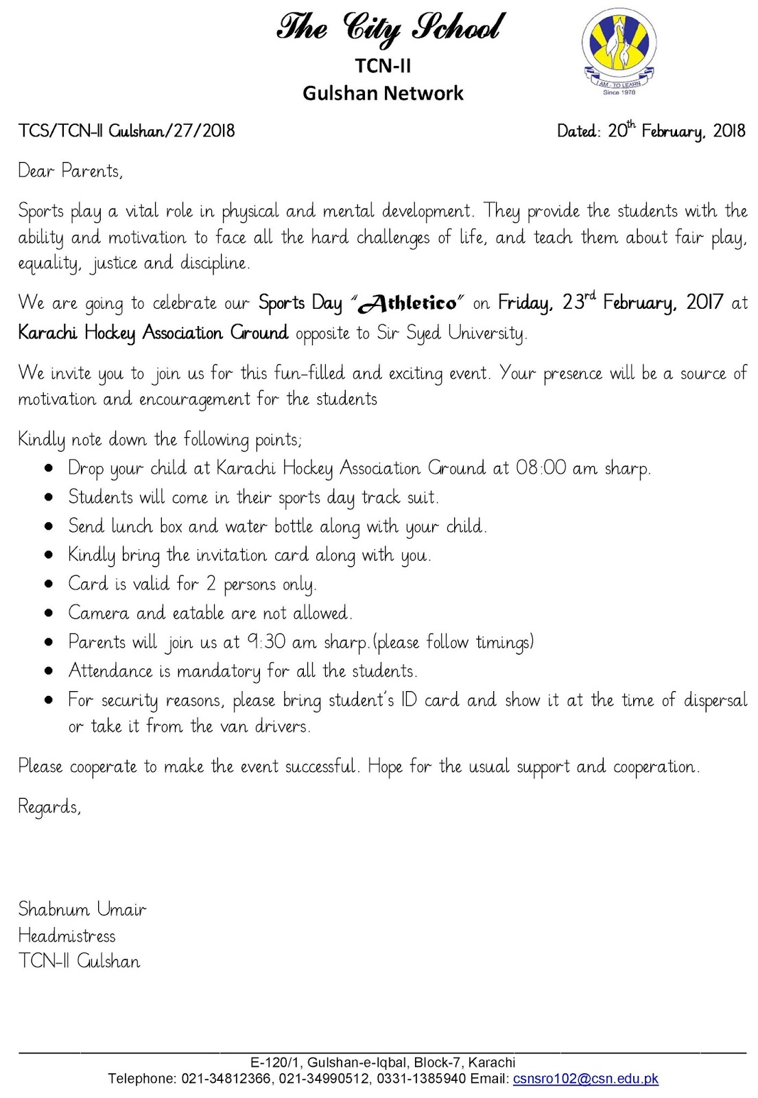 Sr gulshan the city nursery ii sports day invitation card and circular sports day invitation card and circular stopboris Gallery